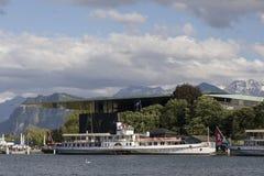 Lucerna, Szwajcaria Czerwiec 7 2017: Steamship na jeziornej lucernie, Szwajcaria; ARTYKUŁ WSTĘPNY Obrazy Stock