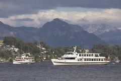 Lucerna, Szwajcaria Czerwiec 7 2017: Steamship na jeziornej lucernie, Szwajcaria; ARTYKUŁ WSTĘPNY Fotografia Royalty Free