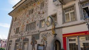 LUCERNA SZWAJCARIA, LIPIEC, - 04, 2017: Widok historyczny lucerny centrum miasta, Szwajcaria Lucerna jest kapitałem Obraz Stock