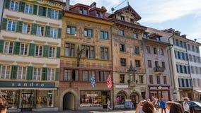 LUCERNA SZWAJCARIA, LIPIEC, - 04, 2017: Widok historyczny lucerny centrum miasta, Szwajcaria Lucerna jest kapitałem Fotografia Stock