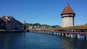 Lucerne's Chapel Bridge. View of Lucerne's Chapel Bridge and River Reuss Royalty Free Stock Photo