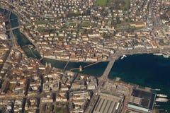 Lucerne Chapel Bridge Luzern Switzerland town City aerial view p Stock Photos