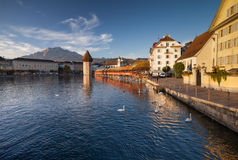 Lucerne, the Chapel Bridge Stock Images