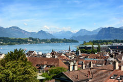 Lucerne City Skyline Lake and Alps Stock Images