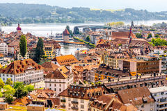 Lucerne city in Switzerland. Top view on the old town of Lucerne city in Switzerland Royalty Free Stock Photos