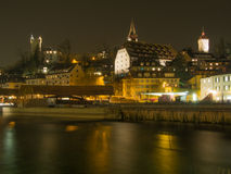 Lucerne City View at Night Royalty Free Stock Photo