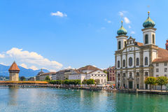Lucerne city view with river Reuss and Jesuit church Stock Photos