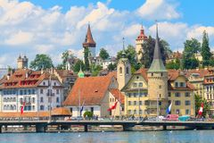 Lucerne city view with river Reuss Royalty Free Stock Images