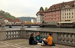 Lucerne city view with river Reuss, Switzerland Royalty Free Stock Photo