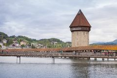 Lucerne. Cityscape with Chapel Bridge Royalty Free Stock Photography
