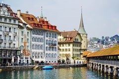 Lucerne, colorful buildings of the city Royalty Free Stock Image