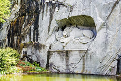 Lucerne, Dying Lion carved in Rock Royalty Free Stock Photography