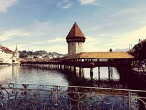 Lucerne famous Bridge and tower stock photos
