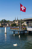 Lucerne & Flags on Ferry Station Stock Photos