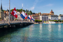 Lucerne & Flags Royalty Free Stock Photo