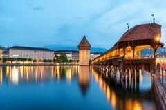 Lucerne. Image of Lucerne, Switzerland during twilight blue hour Stock Photography