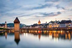 Lucerne. Image of Lucerne, Switzerland during twilight blue hour Royalty Free Stock Photography