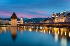 Lucerne. Image of Lucerne, Switzerland during twilight blue hour Royalty Free Stock Photo
