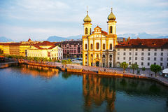 Lucerne, Jesuit church by the river Reuss Royalty Free Stock Photos