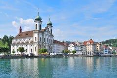 Lucerne. Jesuitkyrka Royaltyfri Bild