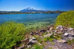 Lucerne lake, Pilatus mountain and Lucerne city, Switzerland, Europe Royalty Free Stock Photography