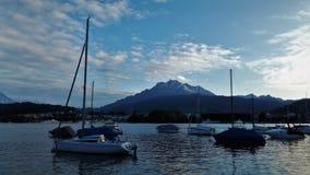 Lucerne Lakeside, Schweiz Arkivfoton