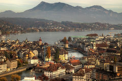 Lucerne (Luzern) aerial in autumn, Switzerland Royalty Free Stock Photos
