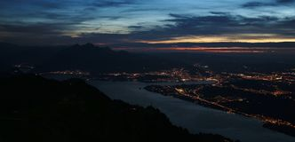 Lucerne by night, view from mount Rigi Royalty Free Stock Photos