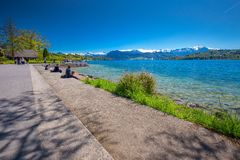 Lucerne promenade with Pilatus mountain and Lucerne lake, Switzerland, Europe Royalty Free Stock Photography