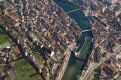 Lucerne Reuss River Luzern Switzerland town City aerial view pho Stock Photo