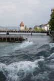 Lucerne, river Reuss flows by the city Royalty Free Stock Photography