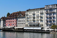 Lucerne at the river Reuss, Switzerland Stock Photo