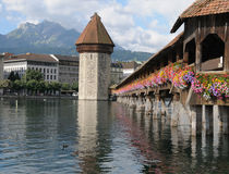 Lucerne's Chapel Bridge Stock Photo
