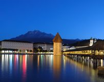 Lucerne's Chapel Bridge at Night Royalty Free Stock Photos