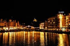 Lucerne Schweiz - nattsikt Arkivfoto