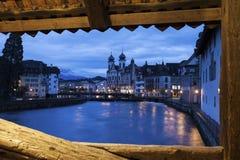 Lucerne seen from Spreuer Bridge Stock Photo