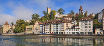 Lucerne street. Lucerne city, Switzerland - autumn cityscape Royalty Free Stock Photo