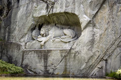 Lucerne. A suggestive shot of lion carved in stone, the symbol of Lucerne Royalty Free Stock Photography