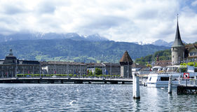 Lucerne. A suggestive view over Lucerne from the shores of Lake Lucerne Stock Images