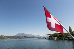 Lucerne with Swiss flag Royalty Free Stock Photography