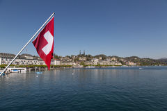 Lucerne with Swiss flag Stock Photos