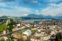 Lucerne, Switzerland. Aerial view of the old town, Lucerne city Royalty Free Stock Photos
