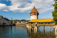 LUCERNE, SWITZERLAND - AUGUST 2: Views of the famous bridge Kape Royalty Free Stock Image