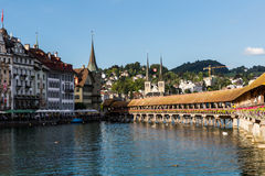LUCERNE, SWITZERLAND - AUGUST 2: Views of the famous bridge Kape Stock Images