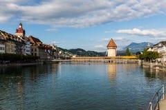 LUCERNE, SWITZERLAND - AUGUST 2: Views of the famous bridge Kape Stock Photo