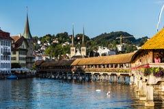 LUCERNE, SWITZERLAND - AUGUST 2: Views of the famous bridge Kape Royalty Free Stock Image