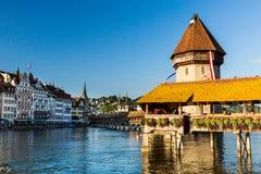 LUCERNE, SWITZERLAND - AUGUST 2: Views of the famous bridge Kape Royalty Free Stock Photos