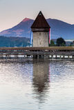 LUCERNE, SWITZERLAND - AUGUST 2: Views of the famous bridge Kape. Llbruecke on late afternoon in Lucerne on August 2, 2015. Lucerne is a famous tourist Stock Image
