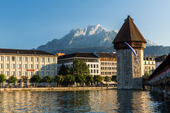 LUCERNE, SWITZERLAND - AUGUST 2: Views of the famous bridge Kape Royalty Free Stock Images