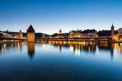 LUCERNE, SWITZERLAND - AUGUST 2: Views of the famous bridge Kape Stock Image